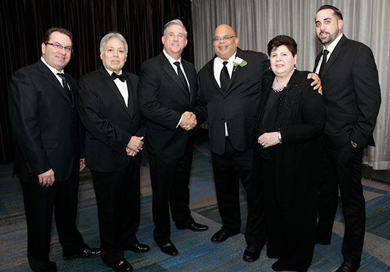 From left: Mitchell Feldman, Fillmore Real Estate Manager; REBNY RLS Director Freddy Sarabia; John P. Reinhardt, Fillmore Real Estate President and Chief Executive Officer; John H. Banks, III, REBNY President; Maryann Arbia Executive VP Fillmore Real Estate; Louis Belisario, Fillmore Real Estate Executive Sales Director