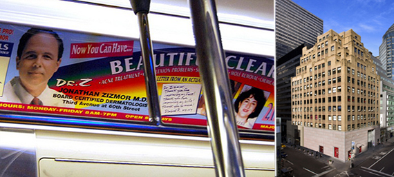From left: a Zizmor subway ad and 133 East 58th Street