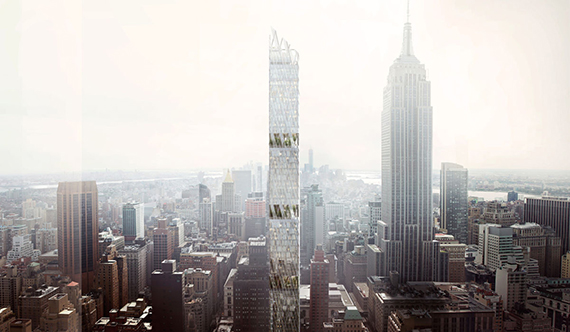 A rendering of Nef's proposed tower for the site (credit: Perkins + Will)