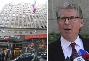 From left: 100 John Street in the Financial District and Cyrus Vance