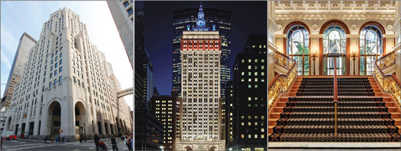 Left to right: 11 Madison, The Helmsley Building, Lotte New York Palace Hotel and 86 Trinity Place