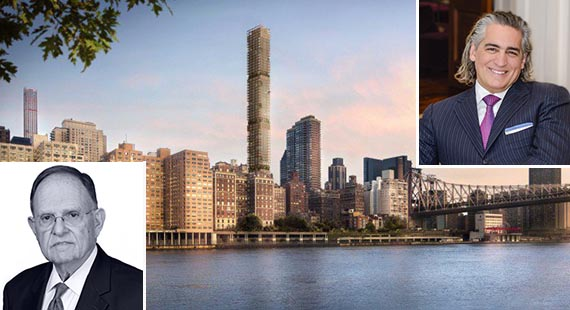 A rendering of 3 Sutton Place on the Upper East Side (inset from left: N. Richard Kalikow and Joseph Beninati)