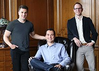 From left: Brian Chesky, Nathan Blecharczyk and Joe Gebbia of Airbnb, and Francesco Plazza and Sylvie Naude (credit: Facebook)