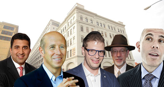 From left: Westbrook COO Sush Torgalkar, Starwood Capital's Barry Sternlicht, Steven Vegh, Ruby Schron and Scott Rechler, with 47 Hall Street