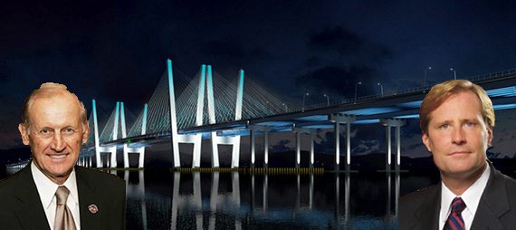 Rendering of the new Tappan Zee Bridge (inset from left: Richard Anderson and Matthew Driscoll)