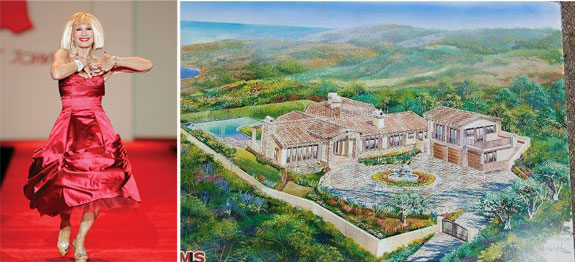 Betsey Johnson via wikipedia and a rendering of her home in Malibu