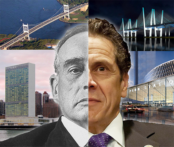 Clockwise: The Triborough Bridge, rendering of the New NY Bridge, U.N. Headquarters and rendering of Penn Station (inset: Robert Moses and Andrew Cuomo hybrid) (credit: Steve Krupinski)
