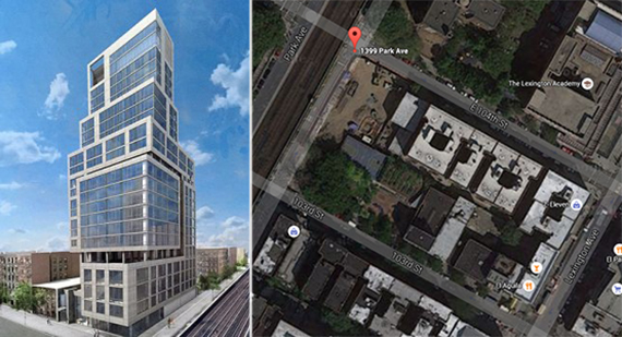 From left: Rendering of 1399 Park Avenue (credit: GHWA) and the site via Google