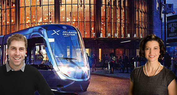 Jed Walentas and Helena Durst with a rendering of the Brooklyn Queens streetcar