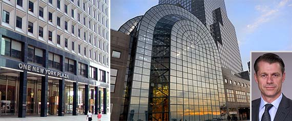 From left: One New York Plaza and 225 Liberty Street (inset: Brian Kingston)