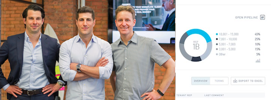 VTS founders Nick Romito, Ryan Masiello and Karl Baum, and a screen shot of the product