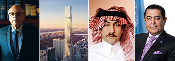 From left: Howard Lorber, rendering of 432 Park, Fawaz and TK