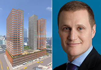 A rendering of 28-10 Queens Plaza in Long Island City and Rob Speyer