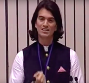 Adam Neumann at the launch of Startup India in January (Credit: YouTube)