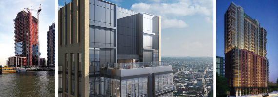 2 North 6th (credit: Douglaston Development), the Ashland at 250 Ashland Place in Brooklyn, Rendering of 44-41 Purves Street in Long Island City