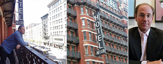 From left: Tenant Artie Nash, the Chelsea Hotel and Richard Born