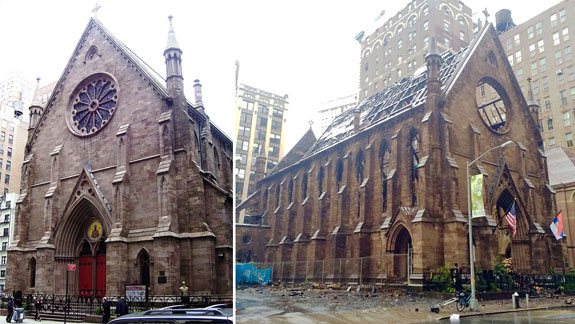 The Serbian Orthodox Cathedral of St. Sava before and after the fire (image credit Beyond My Ken and Boarder143 via WIki Commons)