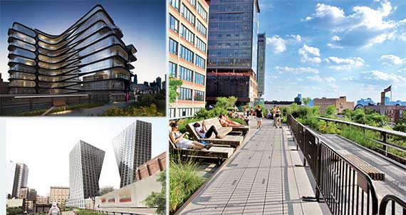 Clockwise: Zaha Hadid's , the High Line and Bjarke Ingels'
