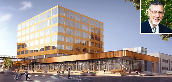 Rendering of 626 Sheepshead Bay Road (credit: S9 Architecture) (inset: Rubin Schron)