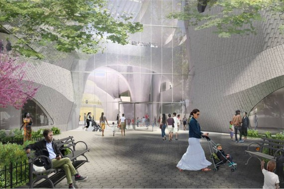 Rendering of the proposed Richard Gilder Center for Science, Education and Innovation entrance at the American Museum of Natural History (credit: Studio Gang Architects )