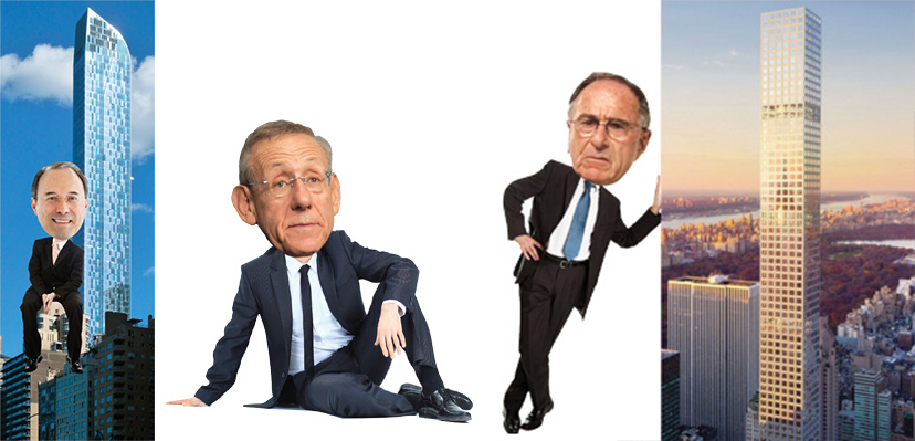 From left: Gary Barnett and One57, Stephen Ross, Harry Macklowe and 432 Park Ave