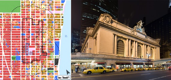 A map of the Midtown East rezoning and Grand Central Terminal