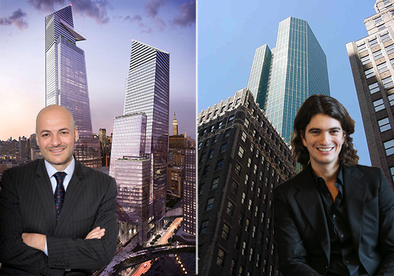 From left: Coach CEO Victor Luis and 10 Hudson Yards and WeWork CEO Adam Neumann and 12 East 49th Street