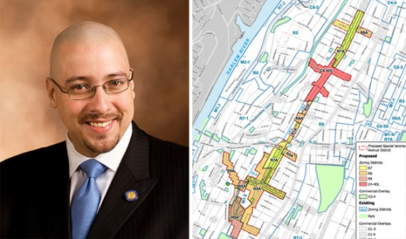 Gustavo Rivera and the proposed new zoning for Jerome Avenue (credit: DCP)