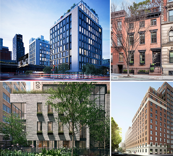 Clockwise from left: 505 West 19th Street, 149 West 10th Street, 160 West 12th Street and 421 Hudson Street