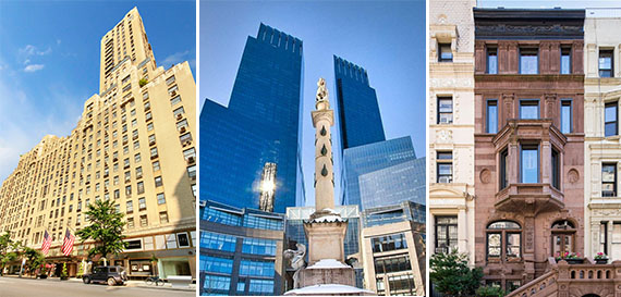The Carlyle, Time Warner Center and at townhouse at 48 West 85th Street