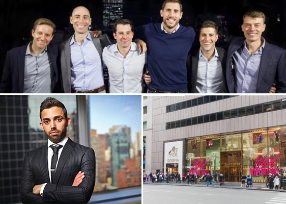 Clockwise from top left: The founders of VTS and Hightower, the retail space at 650 Fifth Avenue, and Raphael Toledano (Photo by Michael McWeeney)