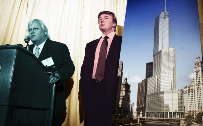 Architect Adrian Smith and Donald Trump unveil renderings of Trump Tower Chicago at a news conference in 2003
