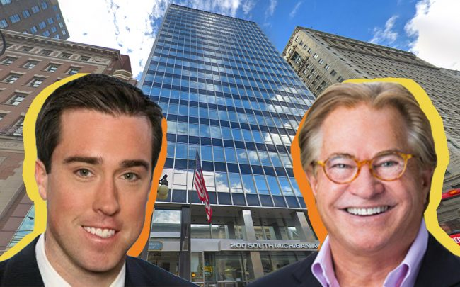 Stanton Road Capital's Timothy Ronan, Shidler Group's Jay Shidler and the Borg Warner building at 200 South Michigan Avenue (Credit: Google Maps)
