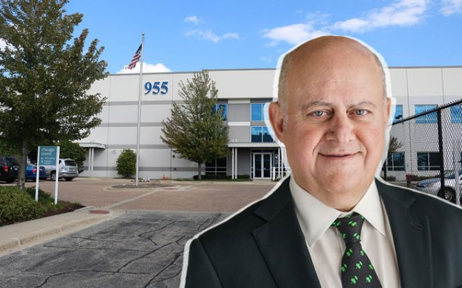 955 West Cermak Road and Chicago & Prologis CEO Hamid Moghadam (Credit: Colliers International and Prologis)