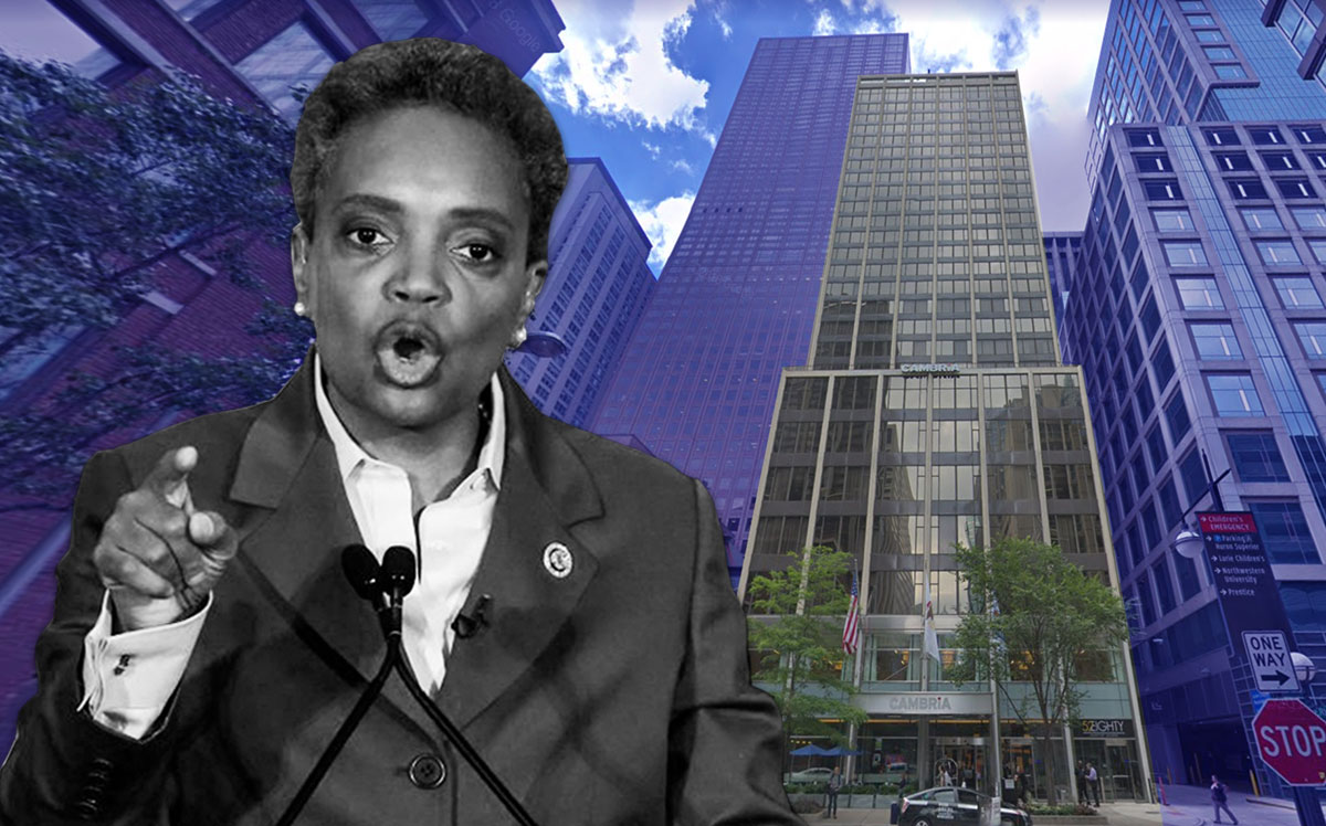 Mayor Lori Lightfoot & Hotel One Sixty-Six Magnificent Mile at 166 E. Superior St.(Credit: KAMIL KRZACZYNSKI/AFP via Getty Images, Google Maps)