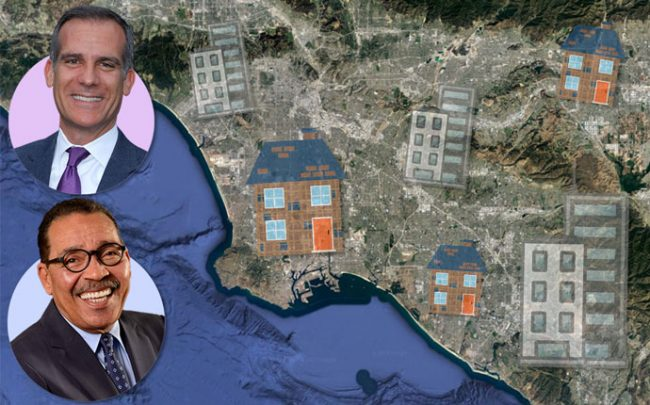 Mayor of Los Angeles Eric Garcetti (top) and Herb Wesson (bottom) with a Google Earth shot of LA County (Credit: Getty Images, Wikipedia, and Google Earth)
