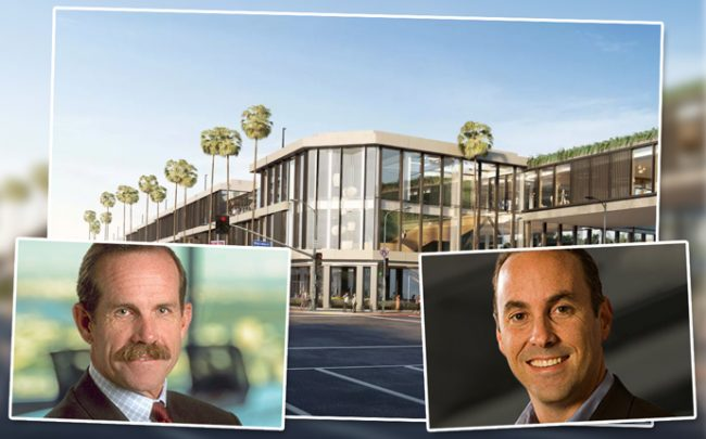 Macerich executives Tom O'Hern and Scott Kingsmore and a rendering of co-working space at One Westside