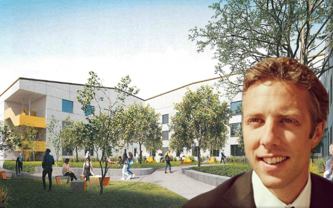 A rednering of the project and EF CEO Edward Hult (Credit: The City of Pasadena)