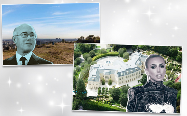 From left: David Geffen and the view from his new Beverly Hills development property, and Spelling Manor in Beverly Hills with Petra Ecclestone (Credit: Wikipedia and Getty Images)