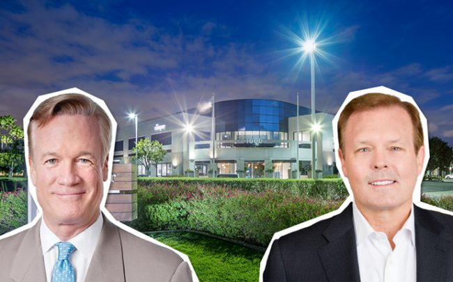 Drawbridge Realty co-founders Mark Whiting and Mark Pearson with a rendering of the building