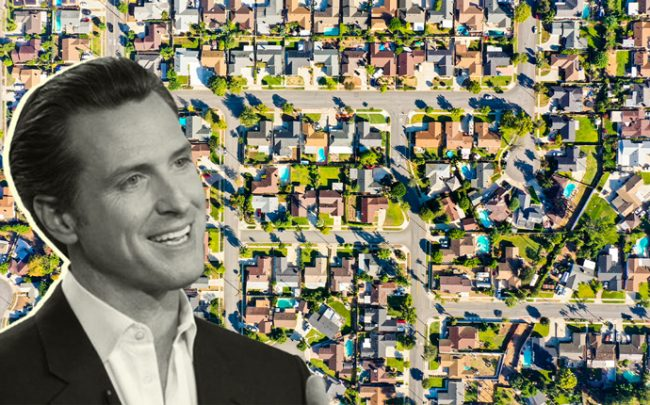 Governer Gavin Newsom and homes in California (Credit: iStock and Getty Images)