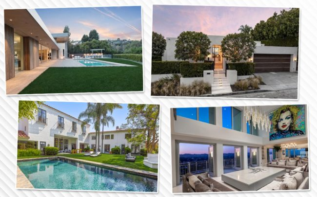 From top left, clockwise: 600 Perugia Way, 1435 Tanager Way, 10727 Wilshire Blvd and 1728 Chevy Chase
