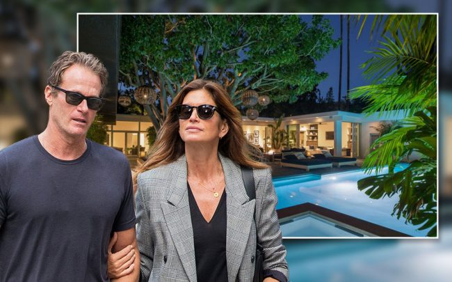 Rande Gerber and Cindy Crawford with the home (Credit: Realtor.com via Los Angeles Times, and Tal Rubin/GC Images via Getty Images)