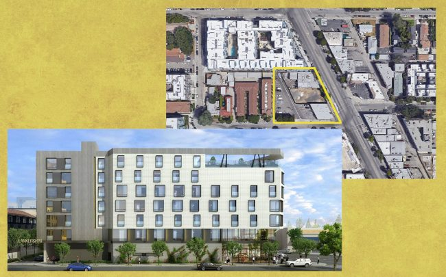 A rendering of the project and an aerial view of the property (AXIS/GFA via NoHo Neighborhood Association, Google Maps)