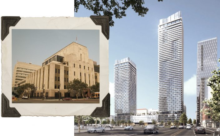 Renderings of Omni's new project, along with the original Times Mirror Square building. (City of Los Angeles Department of City Planning, WikiMedia)