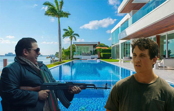 5446 North Bay Road (Inset: Jonah Hill playing Efraim Diveroli, left, and Miles Teller playing David Packouz)