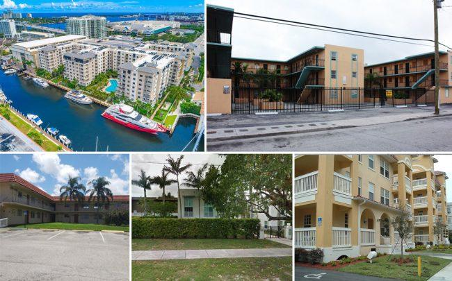Clockwise from top left: Broadstone Harbor Beach, Manhattan II in Overtown, Temple Court Apartments, Cloisters at the Gables, and Watershed Residences