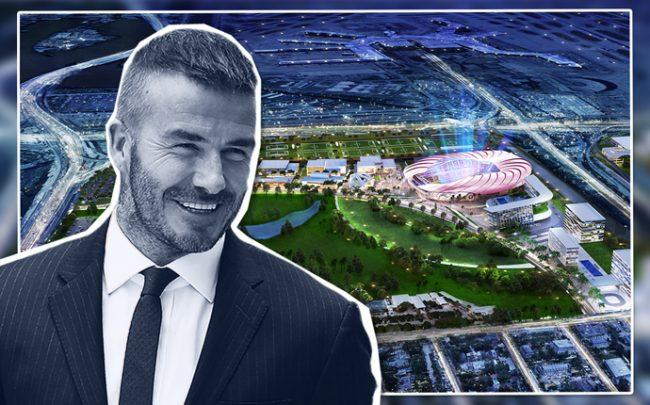 David Beckham and a rendering of Miami Freedom Park