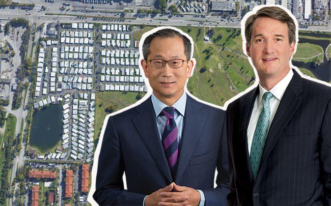 Orangebrook Mobile Home Estates and Carlyle Group co-CEOs Kewsong Lee and  Glenn A. Youngkin (Credit: Google Maps, Carlyle Group)