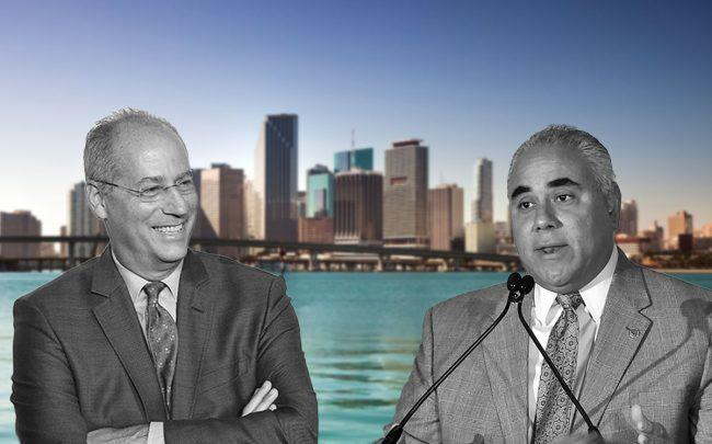 Miami Beach Mayor Dan Gelber and City Manager Jimmy Morales (Credit: Nicholas Hunt/Getty Images, and Mike Coppola/Getty Images)
